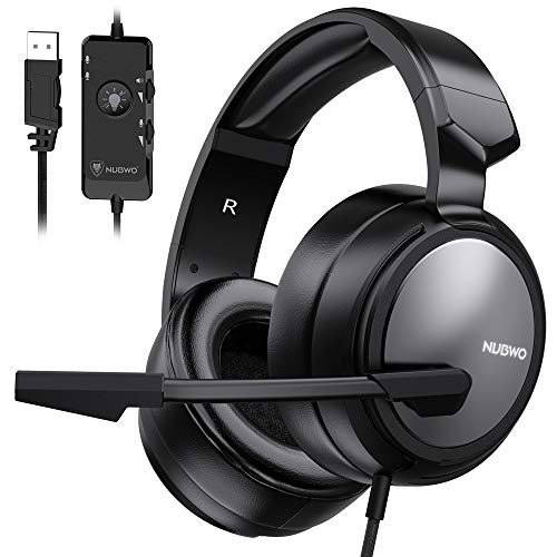 BENGOO N12 Gaming Headset for PS4, PC, 7.1 Surround Sound Over Ear Headphones with Noise Cancelling Mic, On-Line Volume/MIC Control, Soft Memory Earmuffs, USB Stereo Computer Headset for Mac Laptop