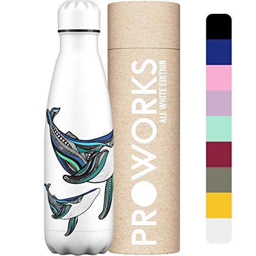 Proworks Botellas de Agua Deportiva de Acero Inoxidable   Cantimplora Termo con Doble Aislamiento para 12 Horas de Bebida Caliente y 24 Horas de Bebida Fría - Libre de BPA - 500ml - Blanca - Ballena