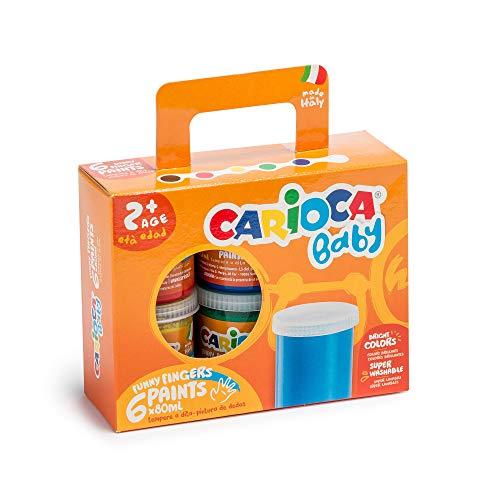 Carioca Baby Finger Paints | Set Pintura de Dedos con 6 Témperas Super Lavables para Niños de 24 Meses. Colores Surtidos, 80 ml x 6 Uds.