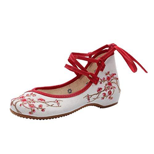 LILIHOT Der Fr¨¹Hlings- und Sommer Segeltuch der Frauen Nationale Windpflaume Wind bestickte Schuhe Damen Elegant Ethnische Bestickte Tanzschuhe Niedrigem Keil Ballerina Mary Jane Blumen Flache