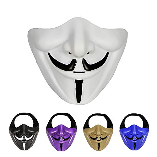 Guy Fawkes Anonymous V for Vendetta Half Face Mask Protective Mask for Airsoft/Paintball/BB Gun/CS Game/Hunting/Shooting, Ideal Mask for Halloween, Cosplay, Costume Party and Movie Prop(White)