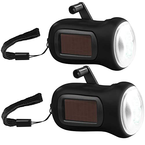 PEARL Dynamo Lampe: 2er-Set Dynamo-Akku-Taschenlampe mit Solarpanel, 3 LEDs, 0,4 W, 20 lm (Taschenlampe mit Kurbel)