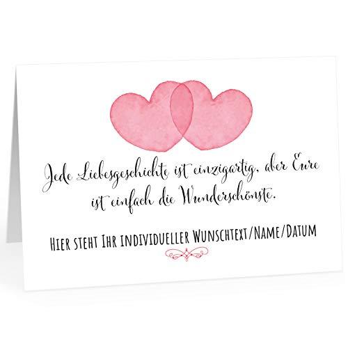Große Glückwunschkarte zur Hochzeit XXL (A4) PERSONALISIERT - 2 Herzen - mit Umschlag/Edle Design Klappkarte/Hochzeitskarte/Glückwunsch/Ehepaar/Extra groß für viele Unterschriften