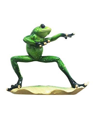 Raikou morale integriteit kikker/yoga-kikker, milieuvriendelijke hars-sieraden zijn geschikt voor slaapkamer, woonkamer, vensterbank. Kung Fu kikker 4