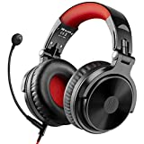 Bluetooth Over Ear Headphones with 80 Hrs Playtime, OneOdio Wired Gaming Stereo Headsets with Boom Mic for PS4, Xbox one, PC, Wireless Headset for Phones, Laptop, Office - Studio Wireless(Y80B) (Red)