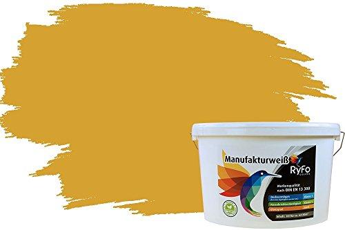RyFo Colors Bunte Wandfarbe Manufakturweiß Currygelb 10l - weitere Gelb Farbtöne und Größen erhältlich, Deckkraft Klasse 1, Nassabrieb Klasse 1