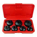 7-Piece Oil Filter Cap Wrench Tool Kit Includes 24mm,27mm,29mm,30mm,32mm,36mm,38mm Socket Set Compatible with Mercedes Benz, VW, BMW and More Automotive Cartridge Oil Filter Housing (Black)