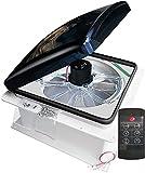 RVLOVENT RV Roof Vent 12V Fan Remote Control Ventilation 14'' 3 Speed Reversible Camper Van (Smoke)