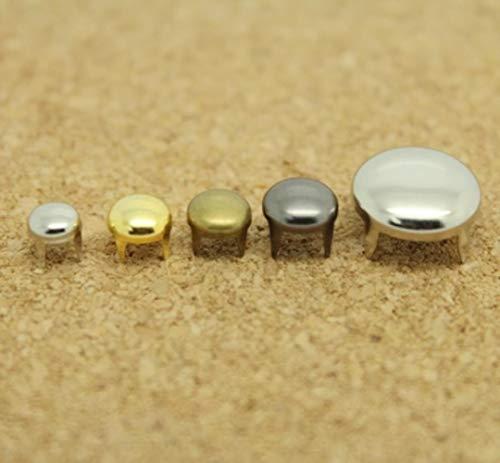 5mm-12mm zilver brons pistool-zwarte ronde klauwen klinknagels voor lederen spikes voor kleding diy accessoire voor tas tachas para ropa, 10mm zilver (100 stuks)
