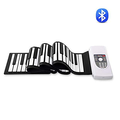 Review Of ROCK1ON Portable Electronic 88-Key Roll Up Piano Keyboards with Double Stereo Speaker Blue...