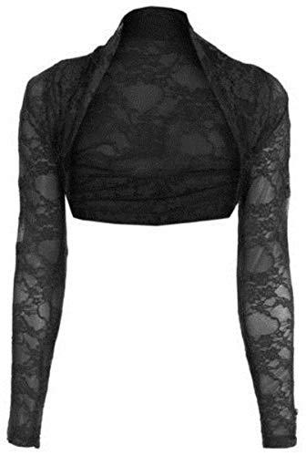 Preisvergleich Produktbild NAZ Fashion Damen Bolero mit Spitze,  langärmelig,  offen,  bauchfrei,  Größe 34-54 Gr. 46-48,  Schwarz