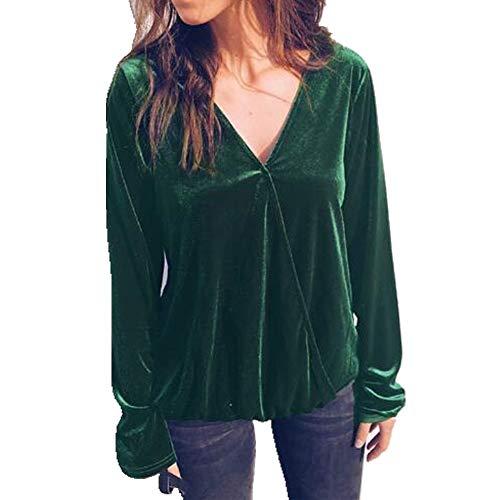 NOBRAND Frühling und Herbst New Irregular Langarm Bluse Women Gr. M, grün