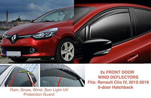 2x Deflectores de Aire Compatible con Renault Clio IV Mk4 2012-2019 5-puertas Derivabrisas Cortavientos para ventanilla protección sol lluvia nieve viento Vidrio acrílico PMMA de primera calidad