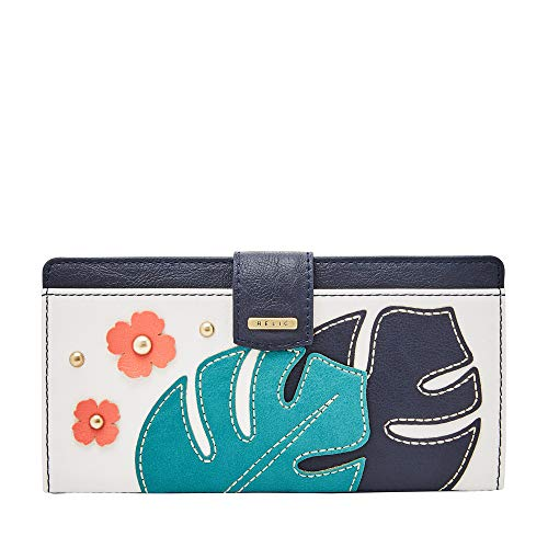 Relic by Fossil Women's RFID Checkbook Wallet, Color: Navy/Green Model: (RLS7801464)