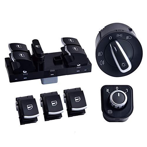 DunMenEn Master Window Control Interruptor Espejo Faro Faro lámpara Fit Fit para V W J ETTA 6 Golf GTI 5 6 TIGUAN Passat B6 CC DunMenEn