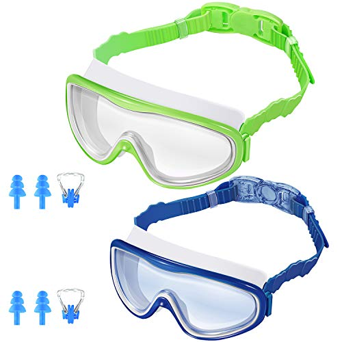 KNGUVTH Kids Swim Goggles, Pack of 2 No Leaking Swimming Goggles Anti-Fog UV Protection Crystal Clear Wide Vision Swim Glasses with Nose Clips + Ear Plugs for Children Early Teens (Green & Blue)