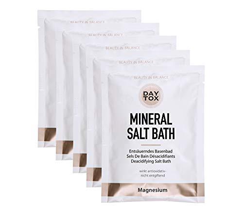 Daytox - Mineral Salt Bath - Entsäuerndes Basenbad für die optimale Haut-Balance - Vegan, ohne Farbstoffe, silikonfrei und parabenfrei - 5 x 80 g