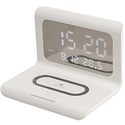 Bias&Belief Cargador Inalámbrico, Base de Carga Rápida de 10W con Reloj Despertador Digital y Luz Indicadora, Cargador Inductivo para iPhone/Android