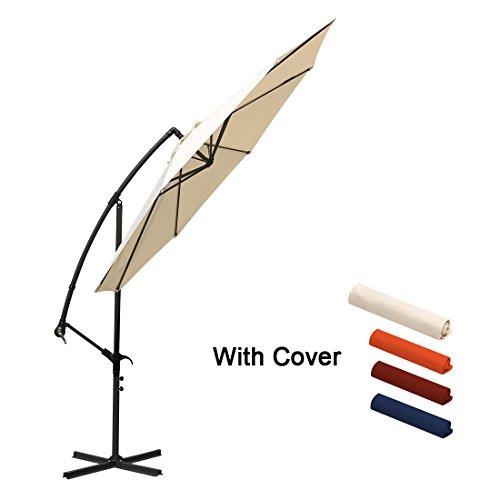 Masvis 10 ft offset cantilever patio umbrella outdoor market hanging umbrellas & crank with cross base, 8 ribs (Beige)