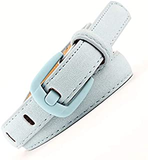SGJFZD Women's Trendy Fashionable Belts Decorated with Wild Belts Wide Needles Painted Buckles Rich Velvet Leather Belts (Color : Light Blue, Size : 110cm)