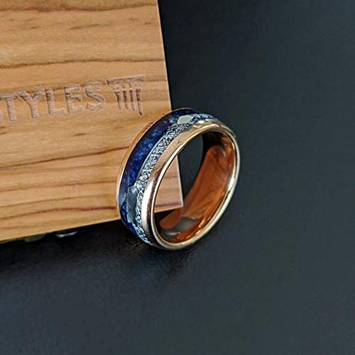 18K Rose Gold Meteorite Mens OFFicial shop Wedding Lapis Tungs Ring Deluxe Bands Blue