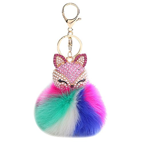 HXINFU Cute Stuffed Fox Keychain Pom Pom Fluffy Fox Head Keychain for Women