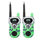 T best Walkie Talkies para niños, 2 Piezas de Mini interfono de Radio electrónico para niños Juguetes de Largo Alcance activados por Voz(Verde)