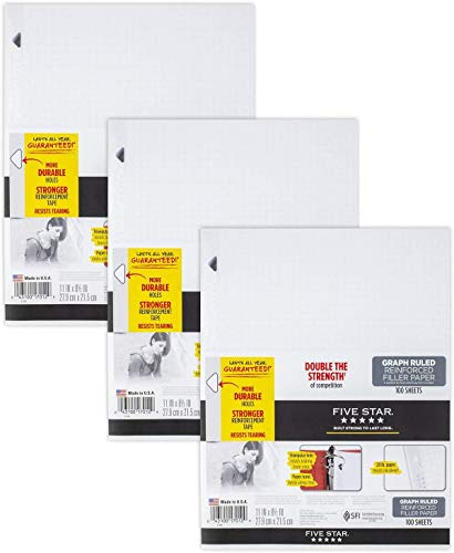 Five Star Loose Leaf Paper, 3 Hole Punched, Reinforced Filler Paper, Graph Ruled, 11 x 8-1/2 inches, 100 Sheets/Pack, 3 Pack (38034)