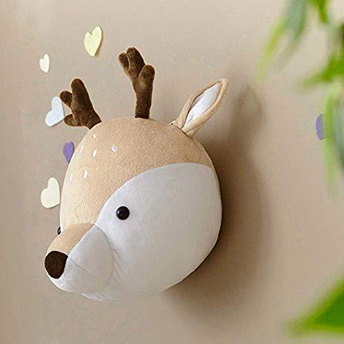 zmr Headdress Nursery Wall Decoration, Children's Room Wall Decoration Creative Jewelry, mud Pie Baby Childcare Wall Mount, Cute Cartoon Animal Head Ornament (Deer)