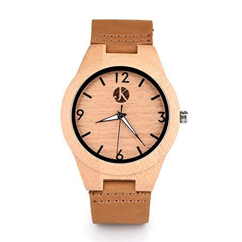 Kim Johanson Damen Bambus-Holz Armbanduhr *Classic Wood* in Braun mit echtem Lederarmband Handgefertigt Quarz Analog Uhr inkl. Geschenkbox