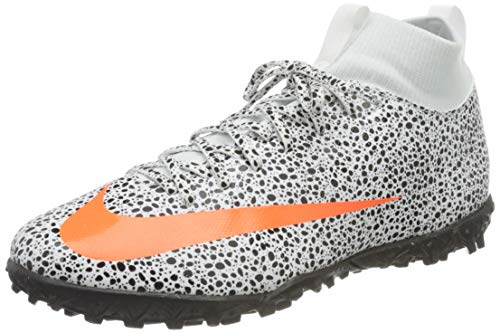 Nike Jr. Mercurial Superfly 7 Academy CR7 Safari TF Soccer Shoe, White/Total Orange-Black, 38.5 EU