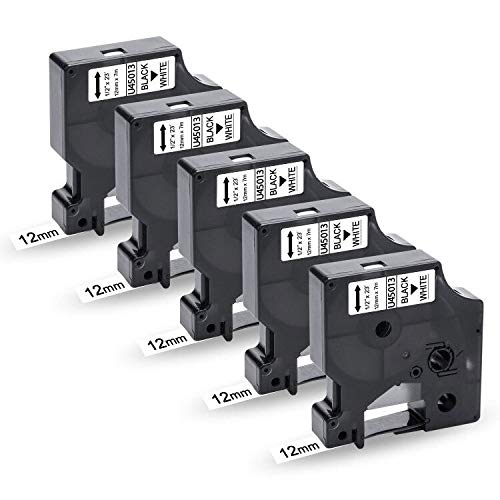 UniPlus Cintas de Etiquetas Compatible para Dymo 45013 S0720530 Cartucho 12mm x 7m, para DYMO LabelManager 160 210D 260P 280 DYMO LabelPoint 250 DYMO LabelWriter 450, Negro sobre Blanco, 5-Pack