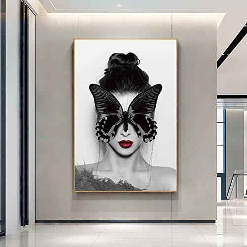 fdgdfgd Arte nórdico Chica Cara Cubierta Lienzo Arte Carteles e Impresiones Labios Dorados Lienzo Cuadro de Pared decoración de Imagen artística