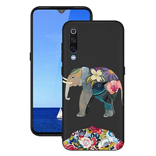 LeviDo Funda Compatible para Xiaomi Mi 9 Silicona Bumper Caucho Caso TPU Case Delgado Goma Parachoque Antigolpes Negro Cover, Elefante