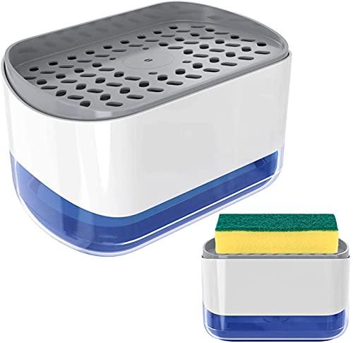 Nordun Juego de dispensador de jabón líquido, Dispensador de Bomba de jabón y Soporte de Esponja para dispensador de jabón de Cocina Dispensador de Lavabo sobre encimera,dispensador de detergente