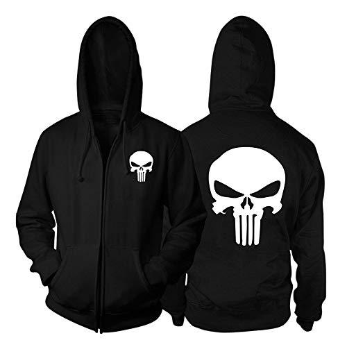 Punisher Mäntel Sports Style Mens Sweatshirt Jumper Rundhalsausschnitt Warmer Herbst Leichter Baumwolle Langarm Mantel Punisher Jacken (Color : Black, Size : L)