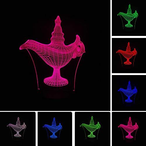 3D-illusie-lamp, led-nachtlampje, kroon tafellamp, kinderbedlampje, 7 kleuren, voor kinderen, Kerstmis, verjaardag, beste cadeau speelgoed