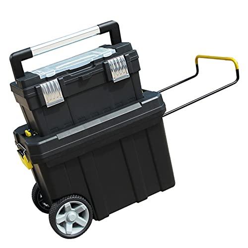 Caja de Herramientas Carro y organizador de caja de herramientas apilable con asa telescópica Comfort Grip Manija de almacenamiento perfecto para taladro eléctrico y piezas pequeñas Caja de almacenami