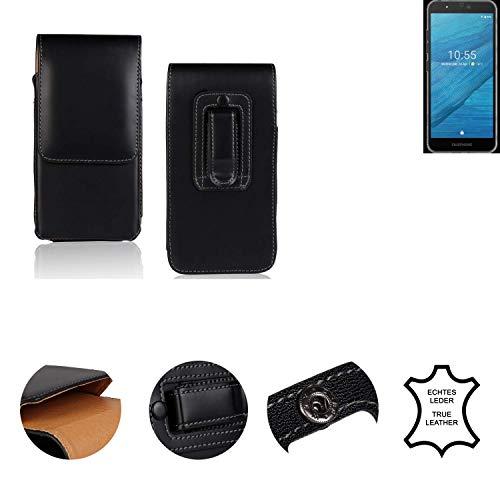K-S-Trade® Holster Gürtel Tasche Für Fairphone Fairphone 3 Handy Hülle Leder Schwarz, 1x