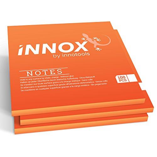 Elektrostatisch selbstklebende Haftnotiz | Für alle Oberflächen - Innovative Sticky Magnetic Notes ohne Klebstoff von INNOX® | Ideen visualisieren, verschieben, strukturieren | 10x10cm, 300 Blatt