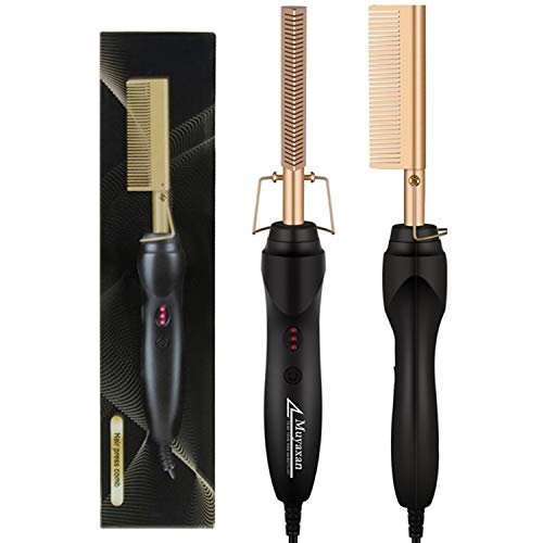 Hot Comb, Electric Heating Comb, Ceramic Comb Security Portable Curling Iron Heated Brush, Anti-Scald Straightener Press Comb High Heat, Multifunctional Copper Hair Straightener (Golden)