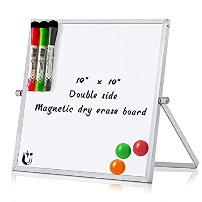 MerLerner Small Magnetic Dry Erase White Board Adjustable Mini Portable Dual-Sided Desktop to Do List Notepad Whiteboard Easel 360°Rotation for Office,Home,School