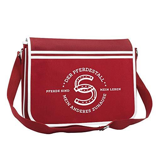 Der Pferdestall - Umhängetasche mit Pferdemotiv - Geschenke für Reiter (Rot)