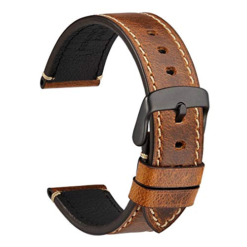 WOCCI Watch Band 20mm - Premium Saddle Style Vintage Leather Watch Strap with Black Buckle (Gold Brown)