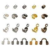 PandaHall 1250pcs/caja de cuentas engarzadas de latón, guardianes de alambre, cubiertas de cuentas de engarzado con puntas de hierro cubiertas de nudos para encontrar joyas