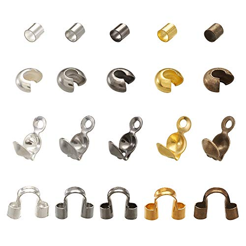PandaHall 1250 Stück/Box Messing Quetschperlen, Drahtschutzperlen, Quetschperlen Abdeckungen mit Eisen-Perlen-Spitzen, Knoten-Abdeckung für Schmuckherstellung