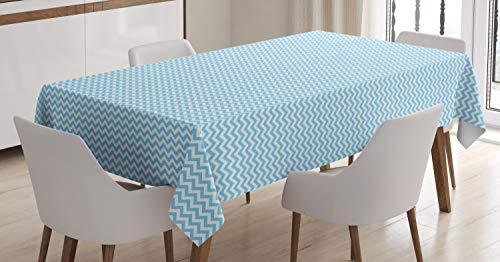 ABAKUHAUS Blauw en wit Tafelkleed, Gestreepte Ontwerp van de Tegel, Eetkamer Keuken Rechthoekige tafelkleed, 140 x 170 cm, Sky Blue and White