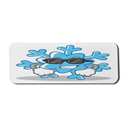 Winter Computer Mouse Pad, Coole Schneeflocke mit Sonnenbrille und Handschuhen Lustige saisonale Zeichentrickfigur, Rechteck rutschfestes Gummi-Mauspad Groß Blau Schwarz Hellgrau