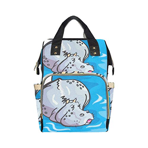 Big Swimming Hippo Lovely Animal Stylish Backpack Diaper Bag Mom Dad Changing Large Capacity Multi-function Backpack Diaper Bags For Baby Girl Boy