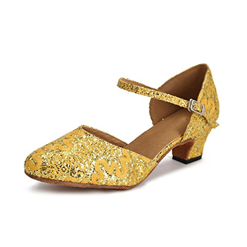 MINITOO Damen Latein Salsa Floral Closed Toe Gelb/Gold Satin Tanzschuhe Braut Wedding Pumps EU 36.5